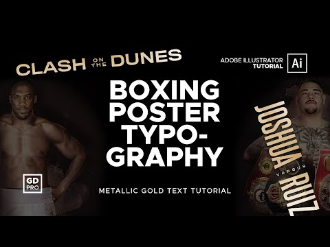 Joshua Vs Ruiz Gold Metallic Typography • Adobe Illustrator Tutorial thumbnail