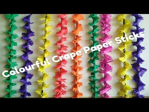 A Very Beautiful & Colourful Crape Paper Sticks | Ganpati Decoration Ideas