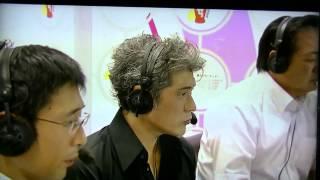 イマジンを歌われた吉川晃司さんが放送室へゲスト出演。 始球式の模様を見られます 解説は北別府学氏.