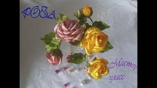 цветы из атласных лент.Роза на шпильке.Мастер класс
