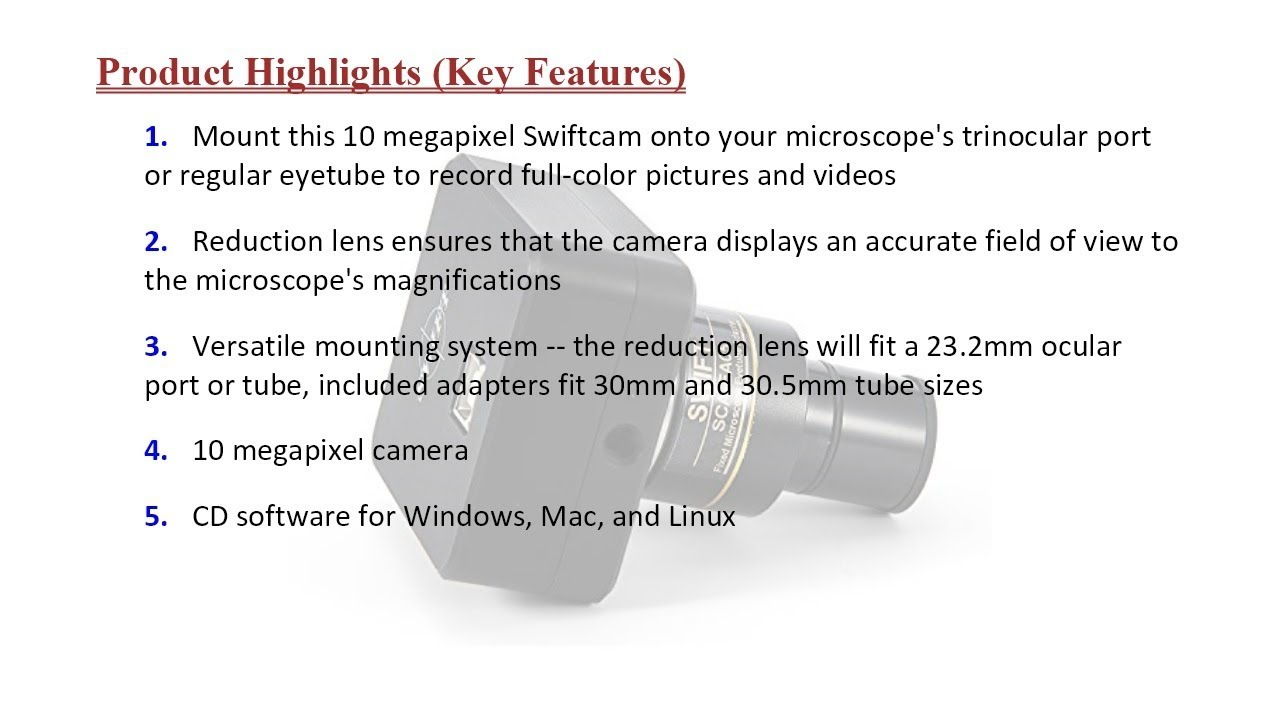 and USB 2.0 Cable Calibration Kit with Reduction Lens Eyetube Adapters Swiftcam 10 Megapixel Camera for Microscopes Compatible with Windows//Mac//Linux