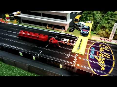 Massive scalextric 6 lane slot car track 1 32 Kerang challenger raceway.slotcars.mack truck.