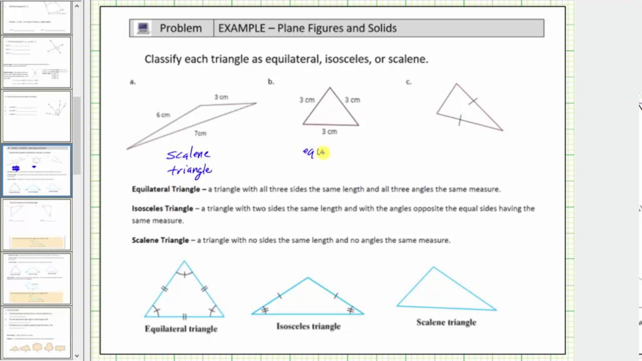 Name Types of Triangles and Determine a Missing Interior Angle