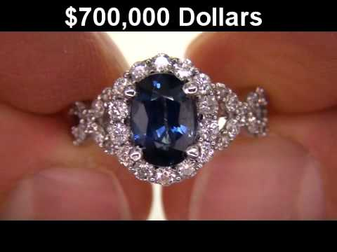 Genuine Vvs Royal Blue Shire Diamond Engagement Ring Beverly Hills Estate Collection