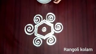 Very cute beginners rangoli kolam with 3x2dots | rangoli kolam |muggulu #rangolidesigns #kolamdesign