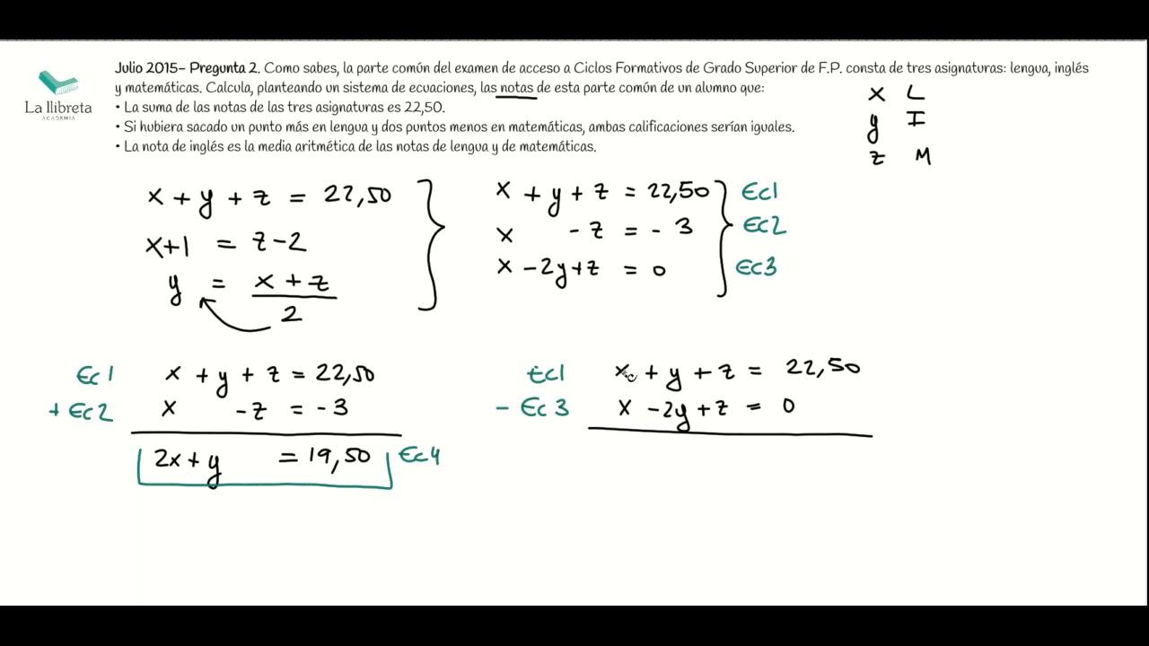 Julio 2015 Pregunta 2 Matemáticas Pruebas De Acceso A Grado Superior