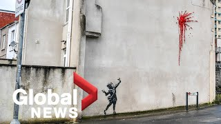 Street artist Banksy apparently unveils Valentine's Day mural