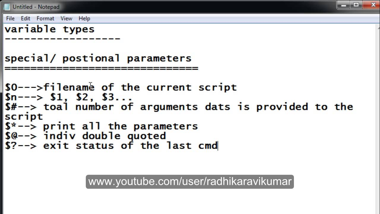 Unix Special Positional Parameters In Shell Scripting PART 1