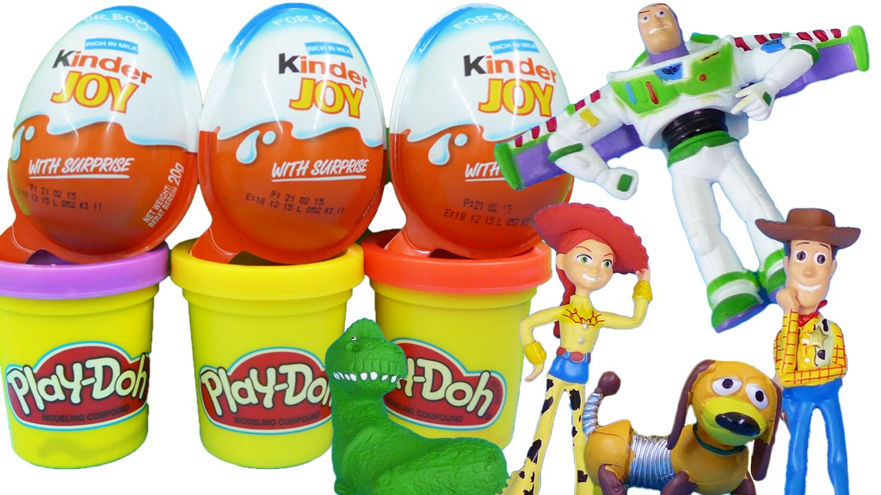 Toy Story Kinder Joy Surprise Eggs for Boys Play Doh Woody Buzz ...