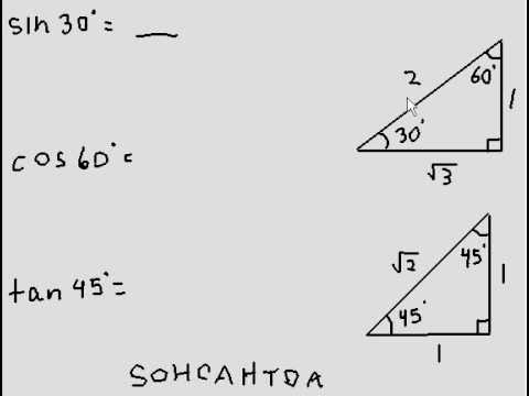 SOHCATOA and special triangles to find sine, cosine and