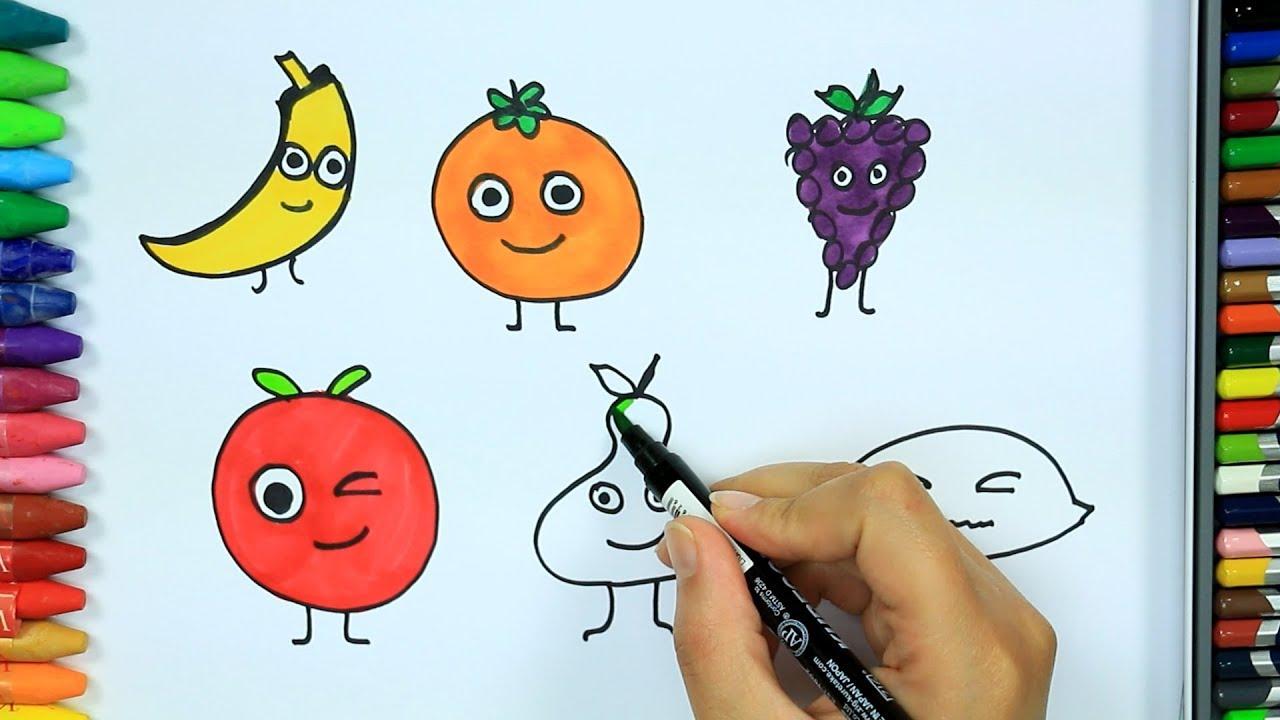 Wie zeichnet man Früchte 🍅 | Ausmalen Kinder HD | Malen für Kinder ...