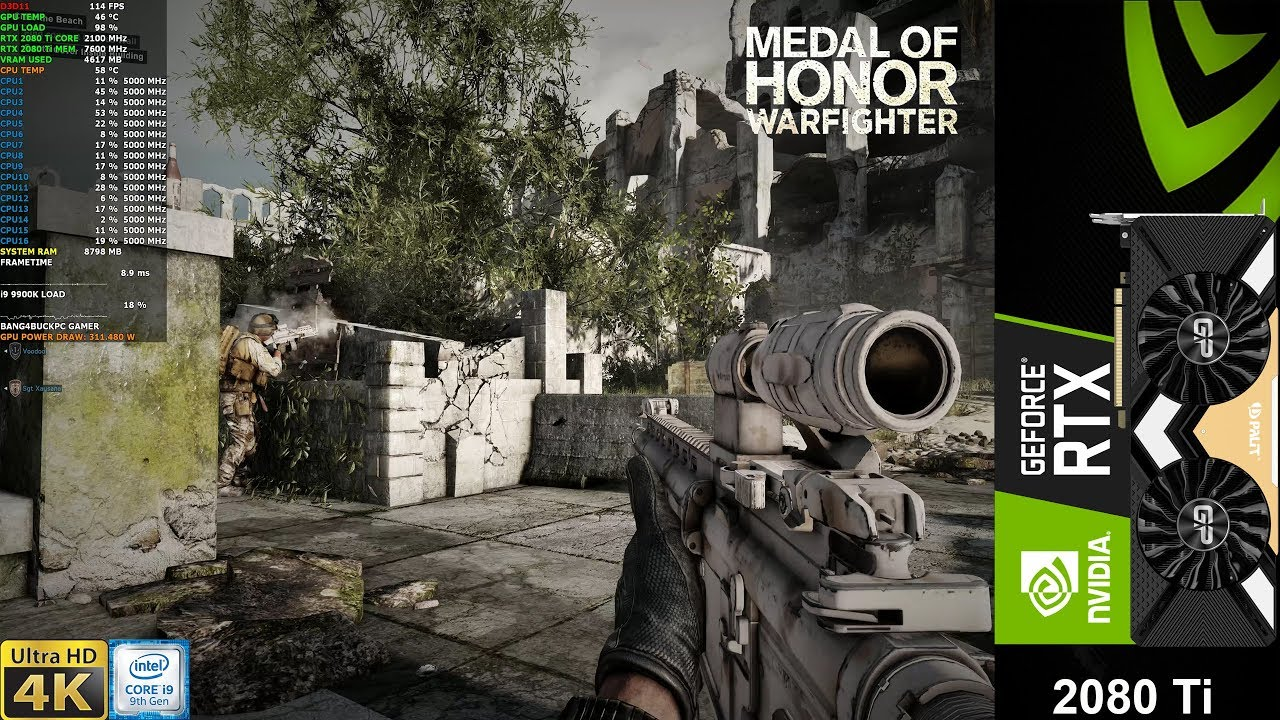 Medal Of Honor WarFighter Maximum Settings 4K | RTX 2080 Ti | i9 9900K 5GHz