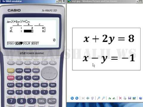 English - Solving Two Equations With Two Unknowns Using Casio Fx-9860G Calculator --ENGLISH--