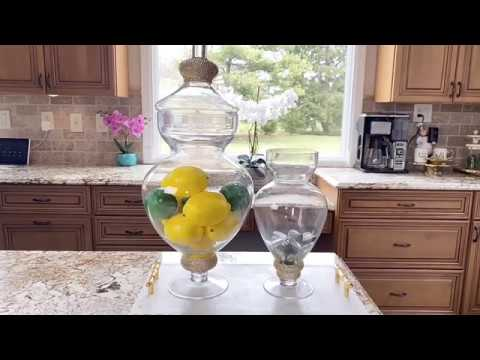 How To Decorate Using Apothecary Jars Kitchen Island Glam Tray Decor Ideas Youtube