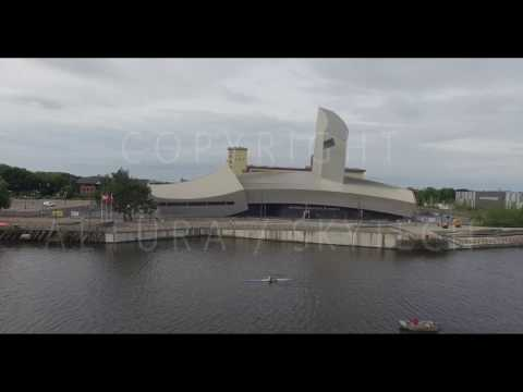Media City Stock Footage - Drone - Aerial - 4K - Salford Quays Manchester Media City