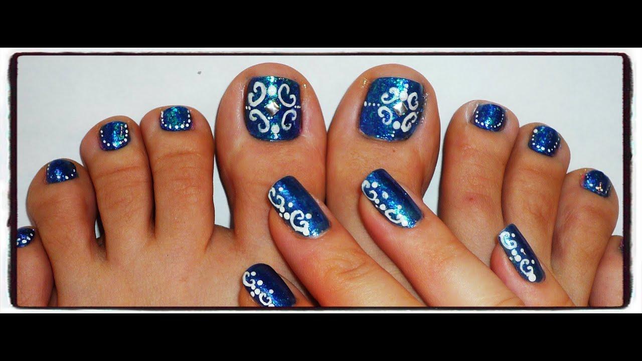 dark blue scrolls toe nail tutorial