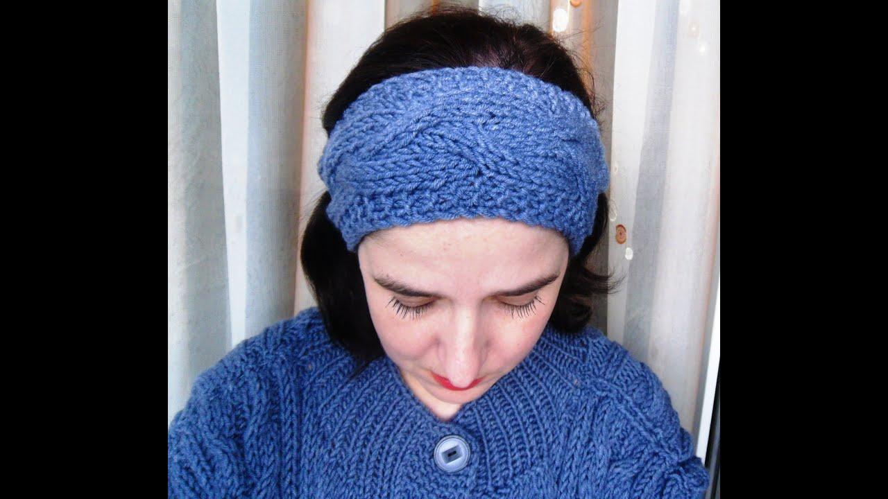 вязание повязки на голову с узором коса Youtube