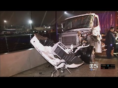 Big-Rig Driver And Passenger Survive Being Thrown From Oakland Freeway