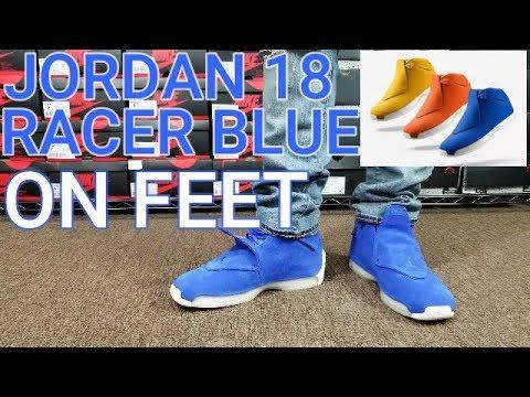AIR JORDAN 18 RACER BLUE REVIEW \u0026 ON