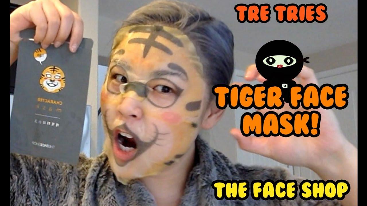 TRE TRIES : TIGER FACE MASK! Korean Beauty Product Testing   DIY NINJA