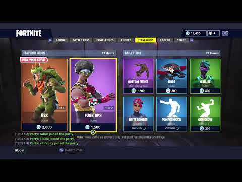 REX AND FUNK OPS!   DAILY ITEM SHOP TODAY!   FORTNITE BATTLE ROYALE (27/9/2018)