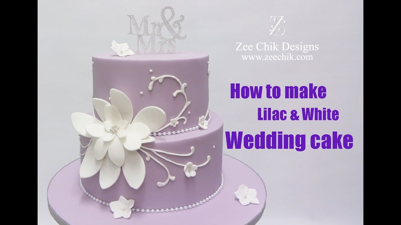 How To Make Lilac And White Flower Wedding Cake Youtube