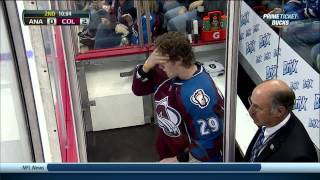 Scrum Nathan MacKinnon & Ben Lovejoy Anaheim Ducks vs Colorado Avalanche 10/2/13 NHL Hockey