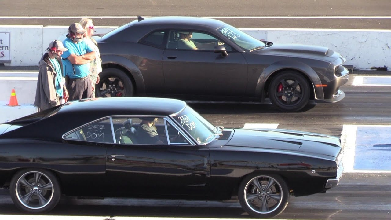Old vs New Muscle Cars - drag racing , Dodge Demon,Chevy ...