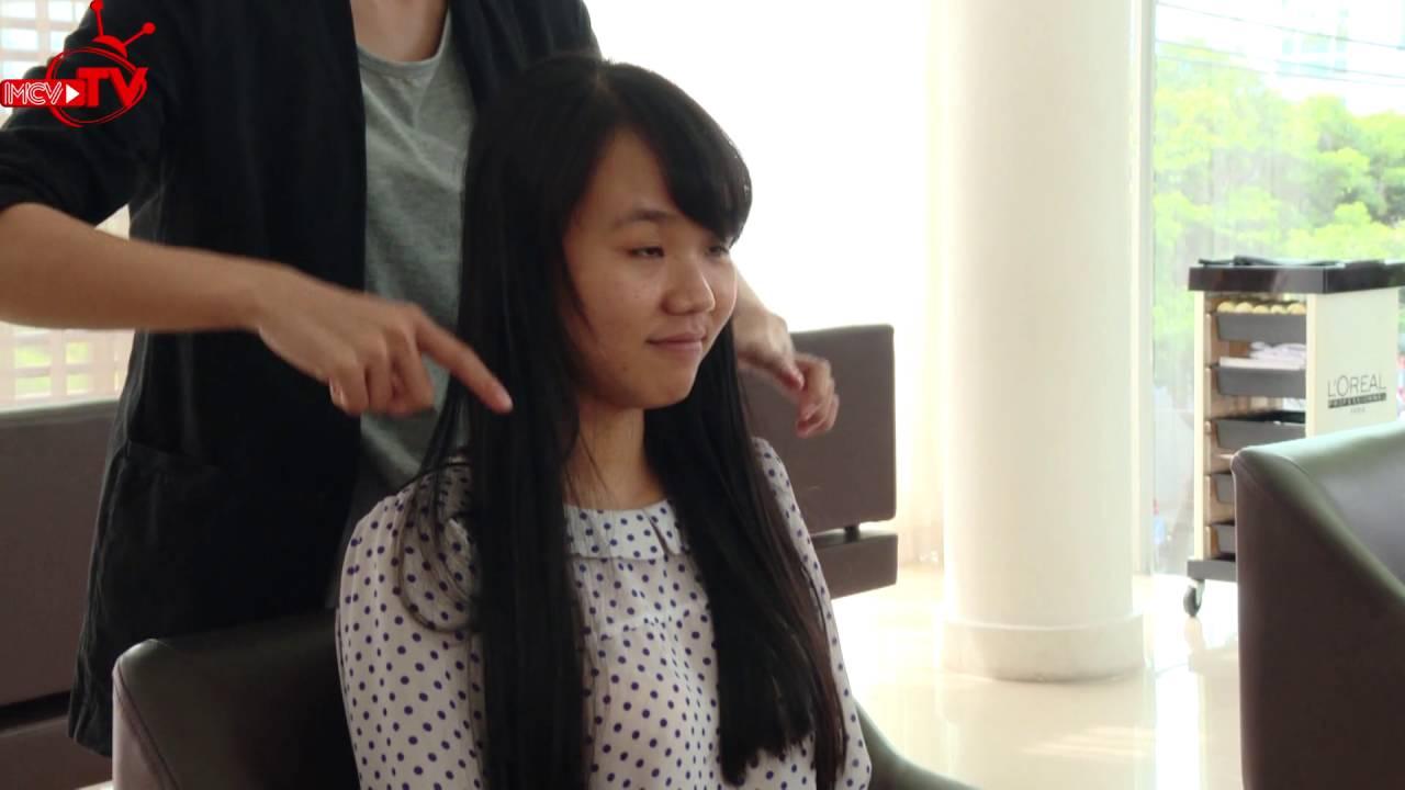 Thay đổi kiểu tóc cho cô nàng xinh xắn, trẻ trung.