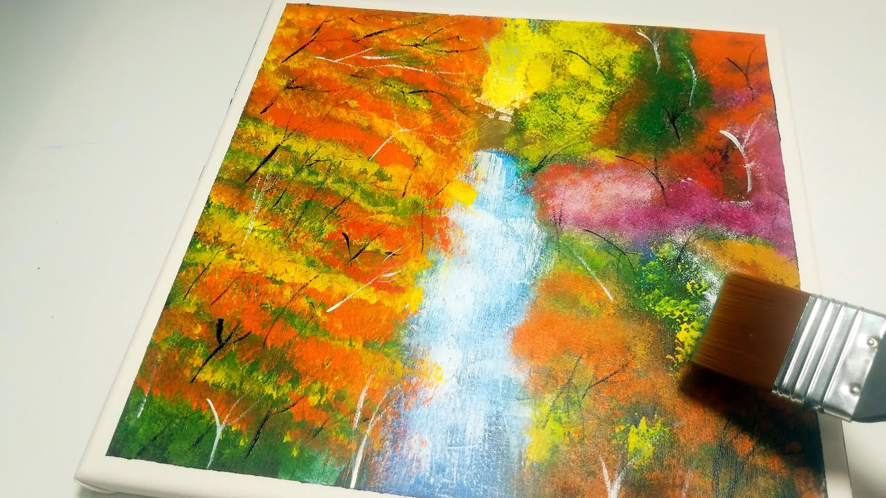 How to paint Forest-Waterfal with sponge   5-minutes painting Dahais Art Satisfying #48