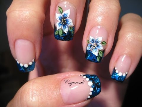 Nail Art Blue Foil French With Flower