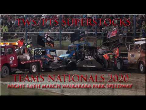 Highlights of night 1 at Waikaraka park speedway featuring the tws pts superstock teams nationals. Video format 7 x teams races 10 laps. Points per race R1 ... - dirt track racing video image