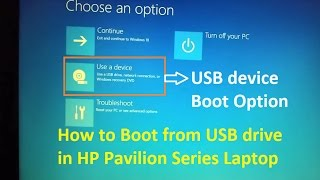 How To boot from USB drive in HP Pavilion Laptop - USB Boot Option (Legacy Support Enabled in BIOS)