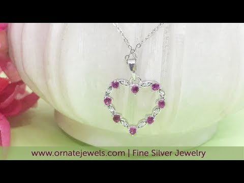 Shop Ruby Heart Necklaces  In 925 Silver Online In India