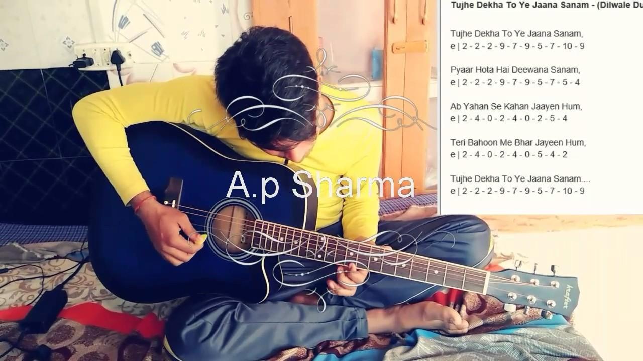 Single String Guitar Tabs Tujhe Dekha To Ye Jana Sanam Youtube