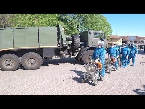 Coronavirus, militari russi sanificano la Rsa di Orzinuovi
