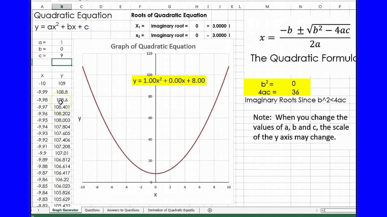 Quadratic equations using excel youtube quadratic equations using excel ccuart Images