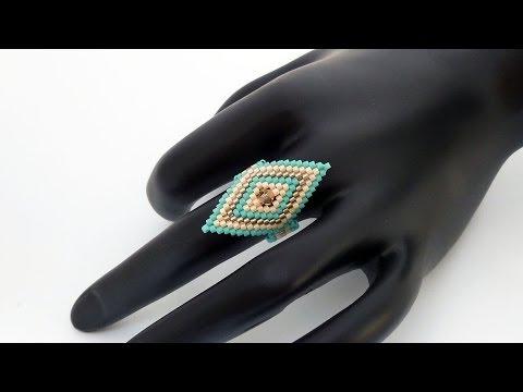 TheHeartBeading: Brick Stitch Ring Tutorial (no sound)