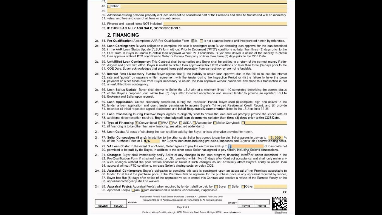 Completing Section 2 Financing - AZ Residential Purchase Contract - blank purchase contract