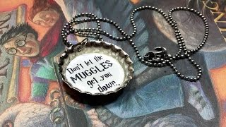 DIY Harry Potter bottle cap charm necklace!