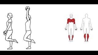 Ettbensstående heving av ball m/begge armer