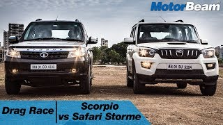 mahindra scorpio vs tata safari storme v400 drag race motorbeam