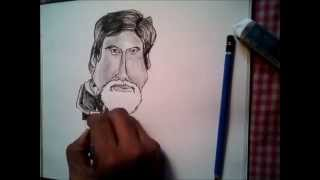 How to draw caricature | Amitabh Bacchan