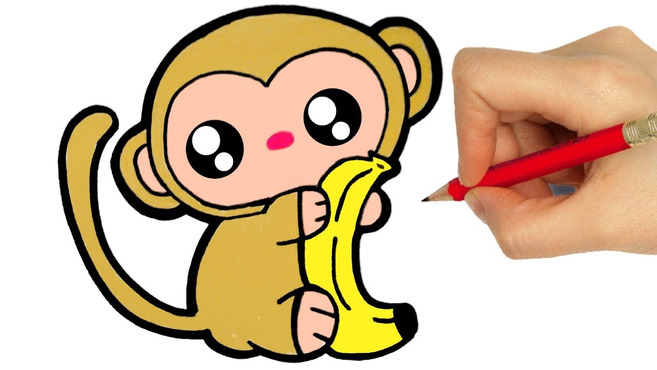 DRAWING MONKEY kawaii easy step by step