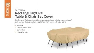 Classic Accessories Terrazzo Rectangular Oval Table and Chair Set