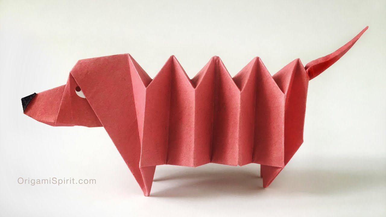 Origami dog face how to origami - Origami Dachshund Dog Perro Salchicha