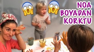 Noa got scared from her first finger paint | Our Family