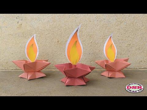 DIY Diwali Diya Making with Paper | How To Make Diya with Paper | DSK DRAWING AND CRAFTS
