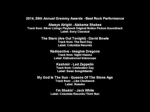 56th Annual Grammy Awards - Best Rock Performance Nominees [text]