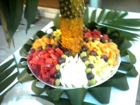 Palmera de fruta youtube for Centros de mesa con frutas